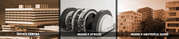 architektonické modely podle typu - modely strojů, office centra, modely obytných domů