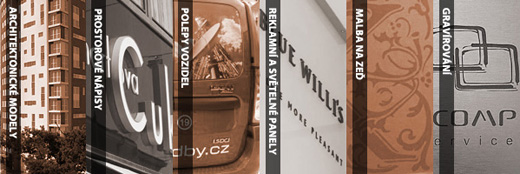 3D-atelier = Architektonické modely, prostorové nápisy, polepy vozidel, reklamní a světelné panely, malba na zeď, gravírování